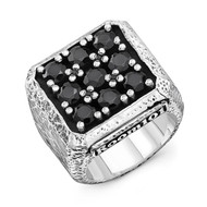 Sterling Silver no 9 Ring With Black Onyx Distressed Sides/size 11