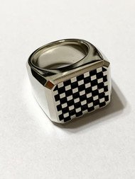 Sterling Silver SM Checker Pattern Block Ring/size 11