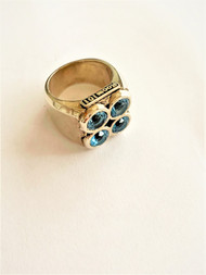 Sterling Silver no 4 ring with blue stone/size 7.5
