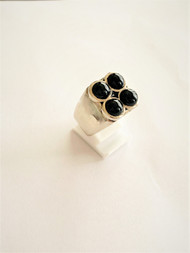Sterling Silver No 4 Ring With Onyx Stones/size 10