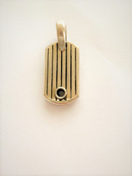 Sterling Silver Striped Dog  Tag