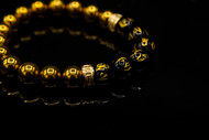 10 mm Gold Hematite and Agate Bead Bracelet
