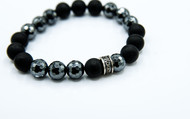 8 mm Faceted Hematite And Agate Bead Bracelet