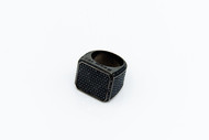Black Onyx  Pave Block Ring /size 9