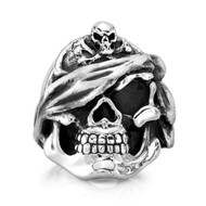 Sterling Silver Captain Swagger Skull Ring/size 12.25