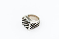 Sterling Silver Checker Block Ring (Small Pattern) /size 12.5