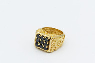 No 9 Filigree Gold Tone Ring With Black Diamonds/size 9