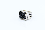 Sterling Silver No 9 Ring With Black Onyx Stones/size 14