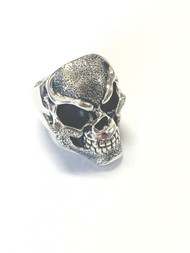 Sterling Silver-One of a kind Hand Stippled Skull  Ring/Size 12