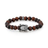 8 mm Red Tiger Eye & Silver Jesus Face Bead Stretch Bracelet