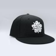 Black White w/ White Sakura Snapback