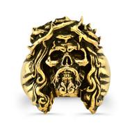 14K Gold Chuey Quintanar Jesus Skully Ring
