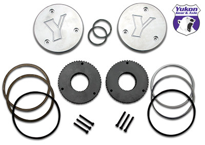 Yukon hardcore drive flange kit for Dana 44, 19 spline outer stubs. Non-engraved caps..