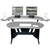 """Edit Center Series 84 Inch Desk With Overbridge, 94.81 Inch Width x 41.88 Inch Depth x 36.41 Inch Height, Wood, Pepperstone"" (midatl_EL-PS)"