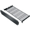 """8 Inch Deep 1 Space Shelf With 2 Space Faceplate, 1 RU, 19 Inch Width x 3.5 Inch Depth x 1.07 Inch Height, Steel, Black Powder Coat"" (midatl_UFA-8-F2)"