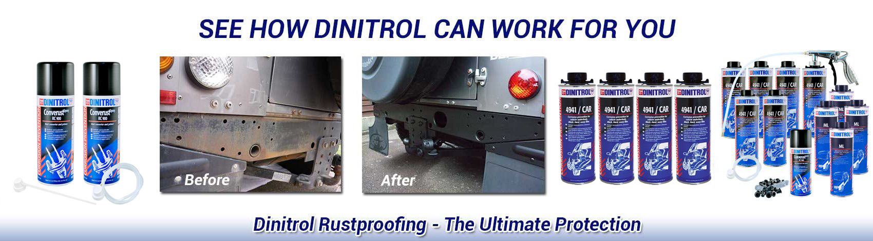 Dinitrol range of rust proofing and rust treatment products as supplied by Rejel