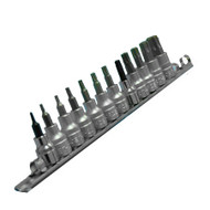 12 PIECE 3/8 inch DRIVE SOCKET STAR BITS ON RAIL