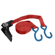 5M x 25mm RED RATCHETING TIE DOWN STRAP WITH 2 HOOKS