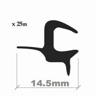 WINDSCREEN EDGE TRIM BLACK 14.5mm x 25M ROLL (4-5mm)