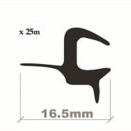 WINDSCREEN EDGE TRIM BLACK 16.5mm x 25M ROLL (4-5mm)