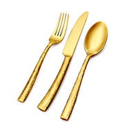Paris Hammered Gold Flatware Set