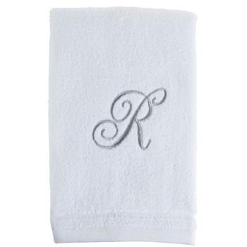 White Initial Fingertip Towel