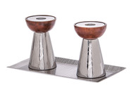 Classic Touch Stainless Steel Candlesticks & Tray