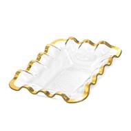 Annie Glass Ruffle Bread Basket- Gold