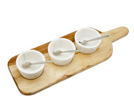 Godinger Marble Dip Bowls w/ Spoons & Wooden Tray