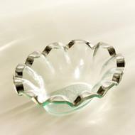 Annie Glass Ruffle Dip Bowl- Platinum