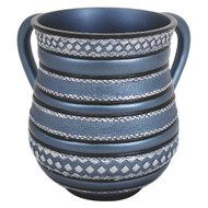 Blue Striped Polyresin Washing Cup