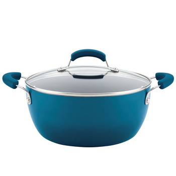 Rachael Ray 5.5 Qt Hard Enamel Nonstick Covered Casserole - Marine Blue
