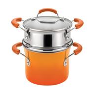 Rachael Ray 3 Qt Hard Enamel Nonstick Covered Pot w/ Steamer Insert - Orange