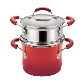 Rachael Ray 3 Qt Porcelain Enamel Nonstick Covered Pot w/ Steamer Insert - Red (14484)