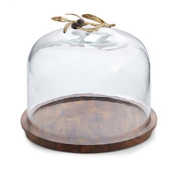 Michael Aram Olive Branch Glass Dome w/ Wood Base (175079 )