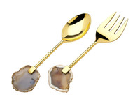 Godinger Brass Salad Set w/ Agate Handles (Set of 2)