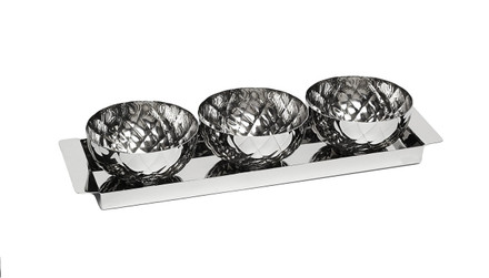 Rectangular Tray with 3 Round Bowls - Pineapple Design (SPR889)