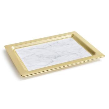 ANNA Dual Tray - Carrara Marble / Gold (CIR-TRRC-37B)