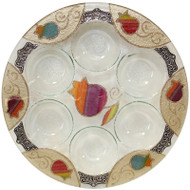 Lily Art Round Seder Plate- Rainbow Pomegranate (LASEPRB)
