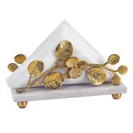 Badash Napkin Holder w/ Marble Base & Brass Petals Design - Gold (L841G)