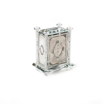Alef to Tav Crystal & Silver Plate Tzedakah Box w/ Crushed Glass (TZ-X2276R)