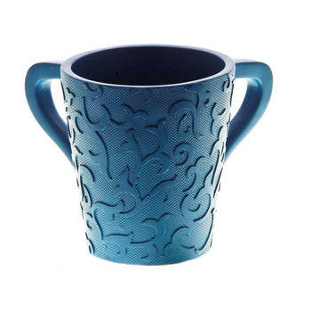 Polyresin Washing Cup with Scroll Design- Blue (WC-110108)