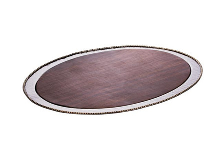 Round Wood & Silver Hammered Challah Board w/ Beaded Edge