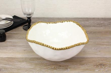 Pampa Bay Golden Solerno Large Salad Bowl (CER-1721-WG)