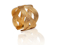 Classic Touch Napkin Rings Gold Woven Design (Set of 6)