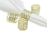 Classic Touch Gold Mesh Napkin Rings (Set of 4)