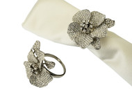 Jeweled Flower Napkin Rings Silver (Set of 4)