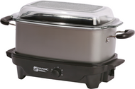 6 Quart Slow Cooker with Flat Glass Cover (Grey)