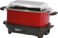 6 Quart Slow Cooker with Flat Glass Cover (Red)