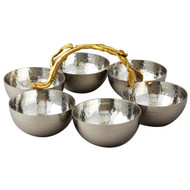 Golden Vine Hammered 6 Bowl Server
